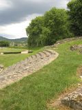 Roman theatre next to soccer field stock photography