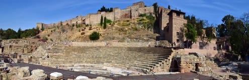 Roman Theatre och Alcazabaen i Malaga Arkivbild