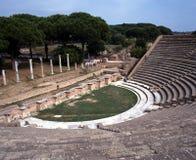 Roman theatre, Ostia Antica, Rome. Ruins of Roman theatre devastated by the erution of Mount Vesuvius in AD79, Ostia, near Rome, Lazio, Italy, Europe Royalty Free Stock Images