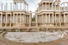 The Roman Theatre proscenium in Merida Stock Photos