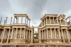 The Roman Theatre proscenium in Merida, front view Royalty Free Stock Photography