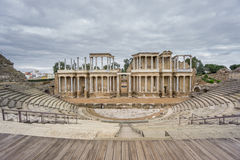 The Roman Theatre proscenium in Merida in Spain. Front View Stock Image