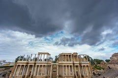 The Roman Theatre proscenium in Merida, ultra wide view Royalty Free Stock Photos
