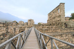 Roman theatre ruins of Aosta Royalty Free Stock Photos