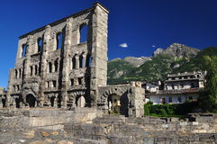 Roman theatre ruins in the city of Aosta, Italy. stock images