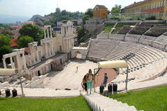 Roman theatre. Roman ruins in Plovdiv are well preserved. There are still some shows in stock photos