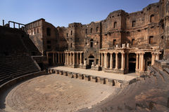 Roman Theatre in Syria. The ancient Roman theatre in Bosra, Syria, Middle East stock photo