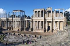 Roman Theatre van Merida is een bouw door de consul Vipsanius Agrippa wordt bevorderd dat royalty-vrije stock foto's