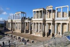 Roman Theatre van Merida is een bouw door de consul Vipsanius Agrippa wordt bevorderd dat royalty-vrije stock afbeeldingen