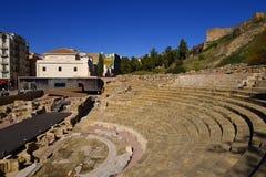 Roman Theatre vid Alcazabaen av Malaga i Andalucia Spanien Royaltyfri Bild