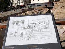 Roman Theatre vid Alcazabaen av Malaga i Andalucia Spanien Arkivbild