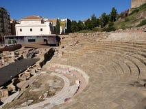 Roman Theatre vid Alcazabaen av Malaga i Andalucia Spanien Arkivfoton