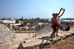 Roman Theatre, Xanthos, UNESCO-Welterbestätte, Lycia, Turke lizenzfreie stockfotos