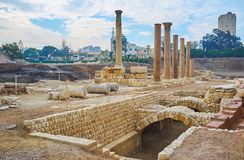 Roman thermae in Alexandria, Egypt. The city has preserved Roman sites with antique ruins of baths, auditoria and villas, Alexandria, Egypt royalty free stock image