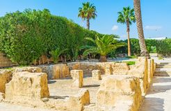 Roman thermae in Monastir. Archaeological site of ancient Roman thermae baths, located next to the Ribat of Monastir, Tunisia stock image