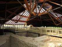 Ancient Roman thermal bath complex under pavilion Royalty Free Stock Photo