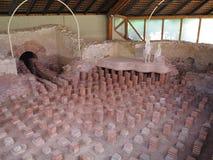 Ancient Roman thermal bath Tepidarium. Excavation site of a Tepidarium which was the warm bathroom of a Roman thermal bath, heated by a underfloor heating system stock photos