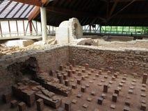 Ancient Roman thermal baths excavation site Stock Photo