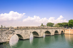 Roman Tiberius Bridge in Rimini Italy Stock Image