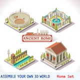 Roman 04 Tiles Isometric. Ancient Rome Tiles for Online Strategic Game Insight and Development. Isometric Flat 3D Roman Imperial Buildings. Explore Game royalty free illustration