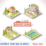Roman 01 Tiles Isometric. Ancient Rome Tiles for Online Strategic Game Insight and Development. Isometric Flat 3D Roman Imperial Buildings. Explore Game Royalty Free Stock Photos