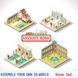 Roman 02 Tiles Isometric. Ancient Rome Tiles for Online Strategic Game Insight and Development. Isometric Flat 3D Roman Imperial Buildings. Explore Game stock illustration