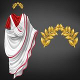 Roman toga, golden laurel wreath realistic vector. Ancient white toga on red tunic and golden laurel wreath 3d realistic vector isolated on black background royalty free illustration