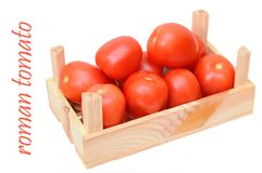 Roman tomato in crate Stock Photos