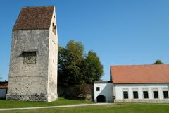 Roman Tower at a monastery in upper bavaria royalty free stock photo