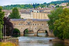 Pulteney Bridge across River Avon, Bath, England. Roman town of Bath set in a hillsde, county of Somerset, western England Stock Image
