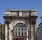 Roman triumphal arch. (Arch of Sergii) in Pula, Croatia Stock Image
