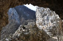Roman tunnel. In a mountain cliff. Anina Mountains from Romania Stock Photo