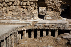 Roman Under-floor Heating. At the ruins of Salamis in Turkish Cyprus stock images