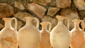 Roman vases put together again nicely in Tac, Gorsium in Hungary Stock Images