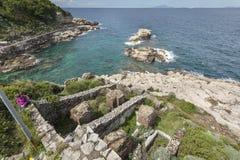 Roman villa bij de kust van Sorrento Royalty-vrije Stock Foto's