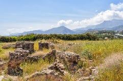 Roman Villa Ruins at Makry Gialos Royalty Free Stock Photo