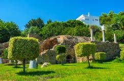 Roman villa's siertuin, Carthago, Tunesië stock fotografie