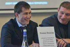 Roman Vlasov sur la presse-conférence Image libre de droits