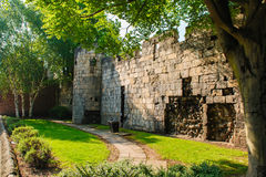 The roman wall around York Stock Photos