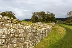 The Roman Wall at Birdsowald. A stretch of Hadrians Wall at Housesteads, near Hexham, in Northumberland, England. The Wall was built by the Emperor Hadrian in royalty free stock photo