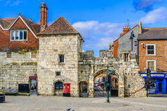 Roman wall and gate in York, UK Stock Image
