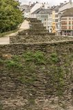 The Roman wall of Lugo surrounds the historic center of the Galician city of Lugo in the province of the same name in Spain. The Roman wall of Lugo surrounds the stock photo