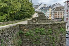 The Roman wall of Lugo surrounds the historic center of the Galician city of Lugo in the province of the same name in Spain stock images