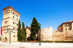 Roman Wall s and Zuda Tower. Roman Wall and Zuda Tower. Zaragoza, Aragon Royalty Free Stock Photo
