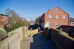 On the Roman walls. Chester city Cheshire England united kingdom royalty free stock photo