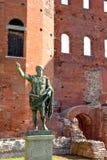 The Roman walls and the statue of Julius Caesar in Turin - Piedm Stock Photo