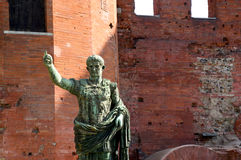 The Roman walls and the statue of Julius Caesar in Turin - Piedm Stock Photography