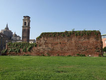 Roman walls in Turin stock photography