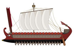 Roman war ship cartoon Royalty Free Stock Image