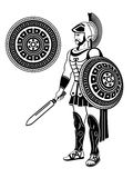 Roman warrior. With sword and decorated shield Stock Photos